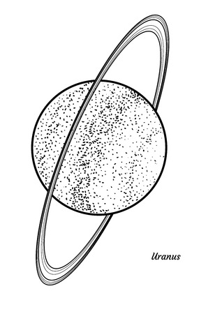 Planet Uranus illustration, engraving, ink, line art, vector