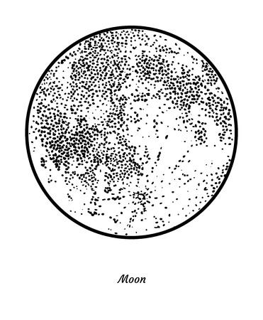 Planet Moon illustration, engraving, ink, line art, vector Ilustração