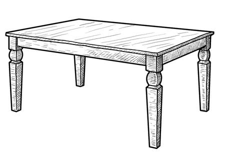 Wooden table illustration drawing engraving ink line art vector Ilustração