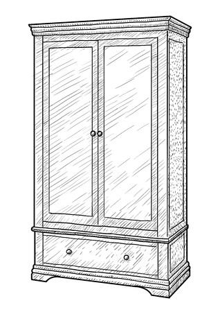 Wardrobe illustration, engraving, ink, line art, vector