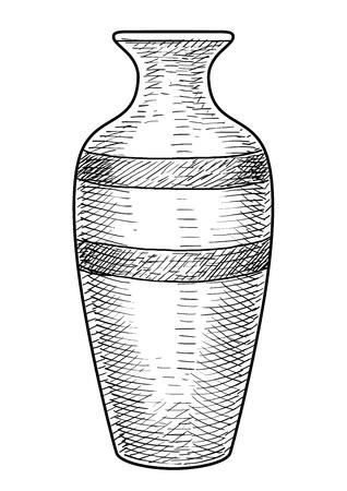 Vase illustration drawing engraving ink line art vector Ilustração