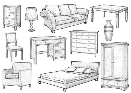 Furniture collection illustration, engraving, ink, line art, vector