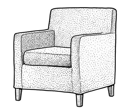 Armchair illustration drawing engraving ink line art vector Ilustração