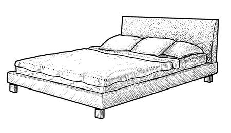 Bed illustration drawing engraving ink line art vector
