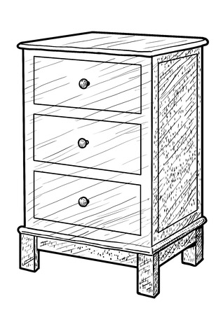 Nightstand illustration, engraving, ink, line art, vector