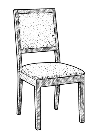 Wooden chair illustration drawing engraving ink line art vector Ilustração