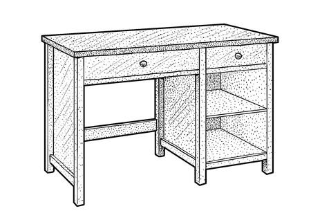 Desk illustration drawing engraving ink line art vector Ilustração
