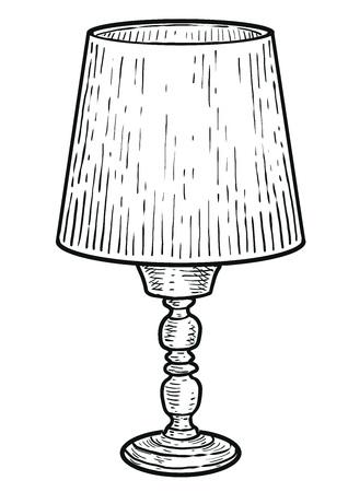 Lampe de table illustration gravure vecteur d'art ligne d'encre