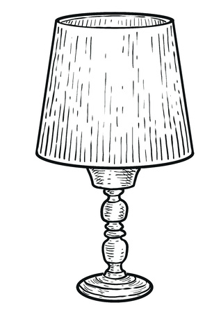 Table lamp illustration engraving ink line art vector