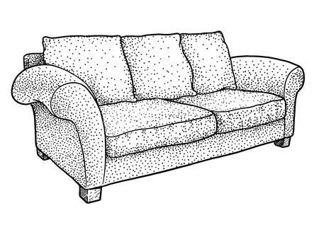 Sofa illustration drawing engraving ink line art vector