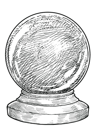 Magic snow Christmas ball drawing engraving ink line art vector