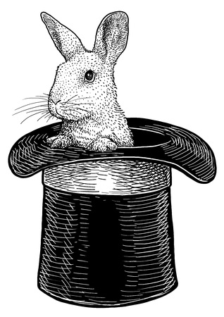 Rabbit in hat illustration, engraving, ink, line art, vector