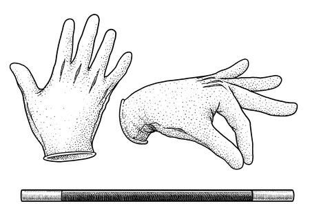 Rękawiczki maga i ilustracja różdżki, grawerowanie, atrament, grafika liniowa, wektor