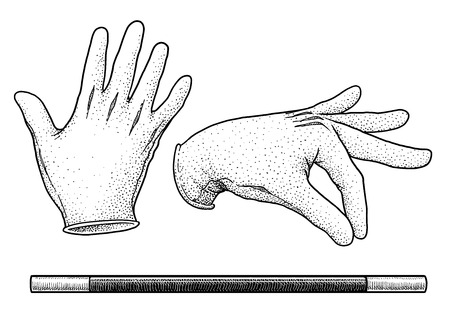 Magician gloves and wand illustration, engraving, ink, line art, vector