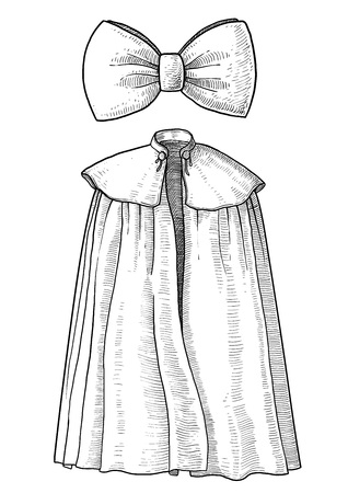 Cape and bow illustration, engraving, ink, line art, vector