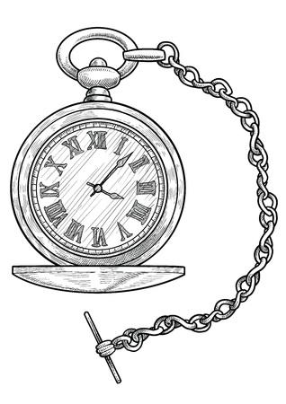 Ilustración de reloj de bolsillo grabado vector de arte lineal de tinta Ilustración de vector
