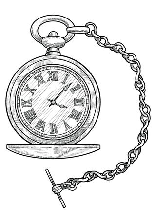 Pocket watch illustration engraving ink line art vector