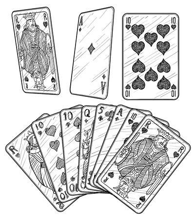 Drawing cards engraving ink line art vector illustration