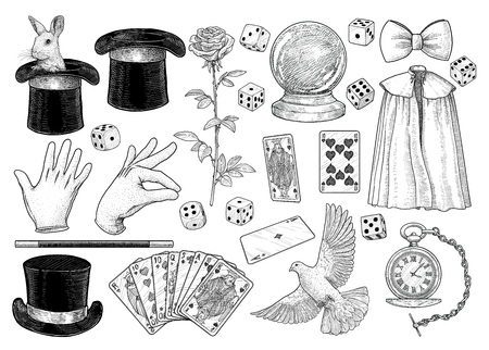 Magician equipment collection illustration engraving ink line art vector