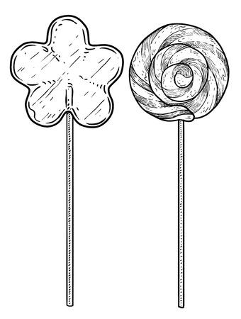 Lollipop illustration, engraving, ink, line art, vector