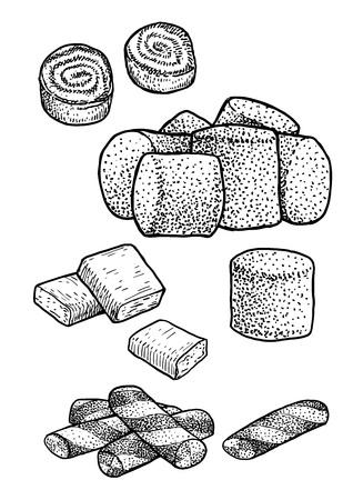 Drawing engraving ink line art vector illustration Ilustração