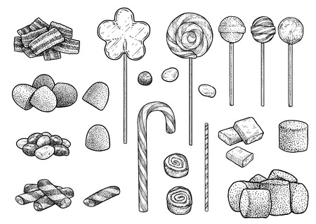 Candy collection illustration engraving ink line art vector