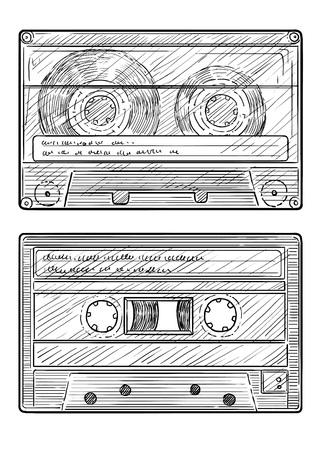 Audio cassette illustration, engraving, ink, line art, vector
