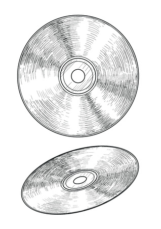 CD illustration drawing engraving ink line art vector