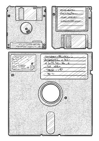 Floppy disk illustration, engraving, ink, line art, vector Ilustração