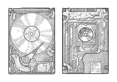 Hard disk illustration, engraving, ink, line art, vector