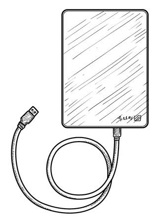 External hard disk illustration engraving ink line art vector Ilustração