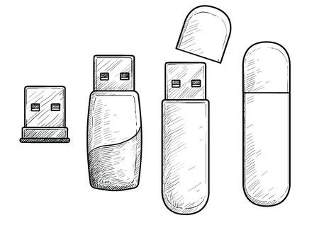 Usb pendrive illustration, engraving, ink, line art, vector