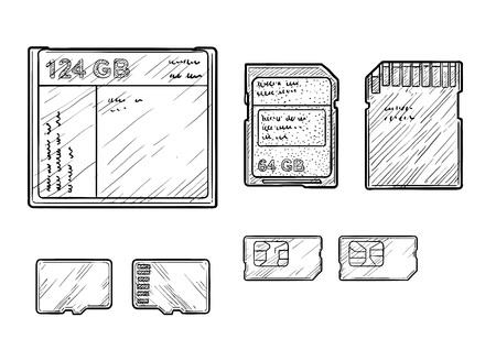 Memory cards illustration engraving ink line art vector