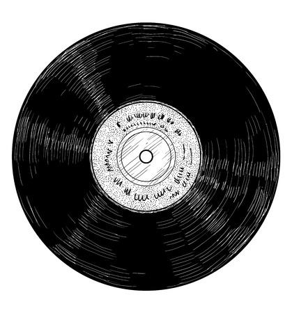 Vinyl record illustration engraving ink line art vector