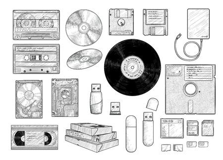 Information storage equipment collection, drawing, engraving, ink, line art, vector Ilustração