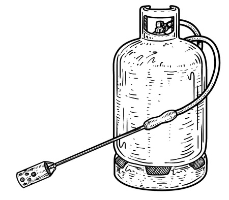 Gas bottle burner for pig slaughter illustration, engraving, ink, line art, vector Ilustração