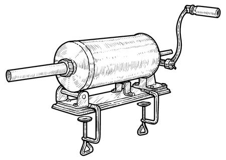 Sausage filler illustration, engraving, ink, line art, vector Ilustrace