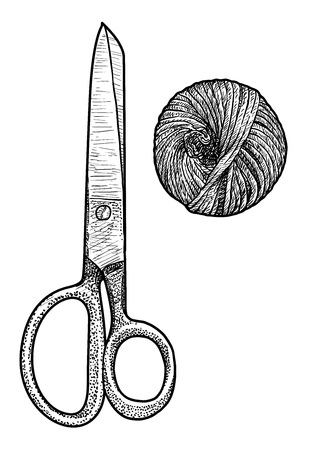 Scissor and twine illustration drawing engraving ink line art vector