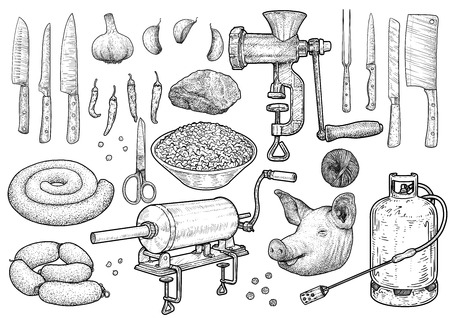 Slaughter ceremony tools illustration drawing engraving ink line art vector