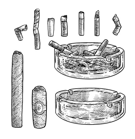 Ashtray with cigarettes illustration, engraving, ink, line art, vector