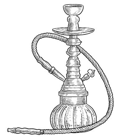 Hookah illustration, engraving, ink, line art, vector Imagens - 121653226