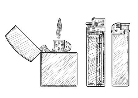 Briquet illustration dessin gravure encre ligne art vecteur