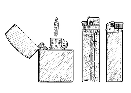 Lighter illustration drawing engraving ink line art vector Ilustração