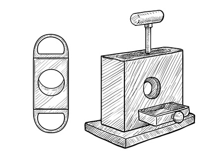 Cigar cutter illustration, engraving, ink, line art, vector