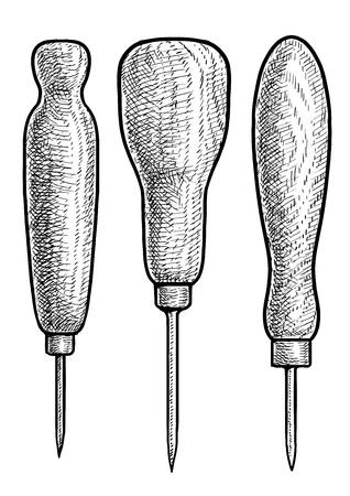 Bradawl illustratie tekening gravure inkt lijn kunst vector