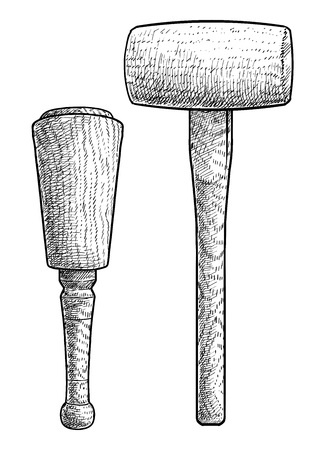 Wood hammer, mallet illustration, engraving, ink, line art, vector