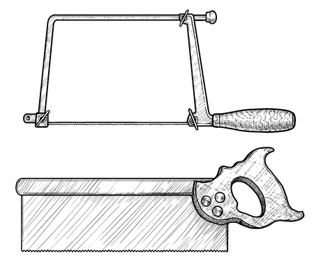 Coping saw, tenon saw illustration, engraving, ink, line art, vector Ilustração