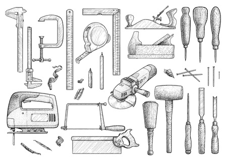 Carpentry, industrial tool, drawing, engraving, ink, line art, vector
