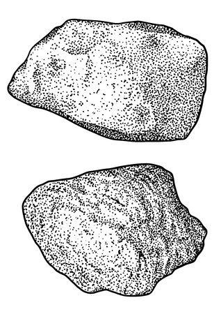 Rock pebble illustration drawing engraving ink line art vector Ilustração