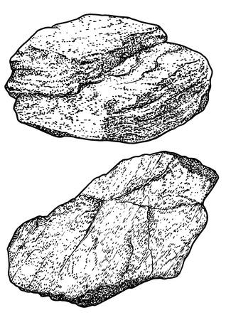 Rock Kiesel Abbildung Zeichnung Gravur Tinte Strichzeichnung Vektor